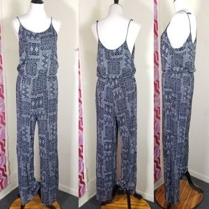 H & M Navy Blue Printed Jumpsuit Size Large
